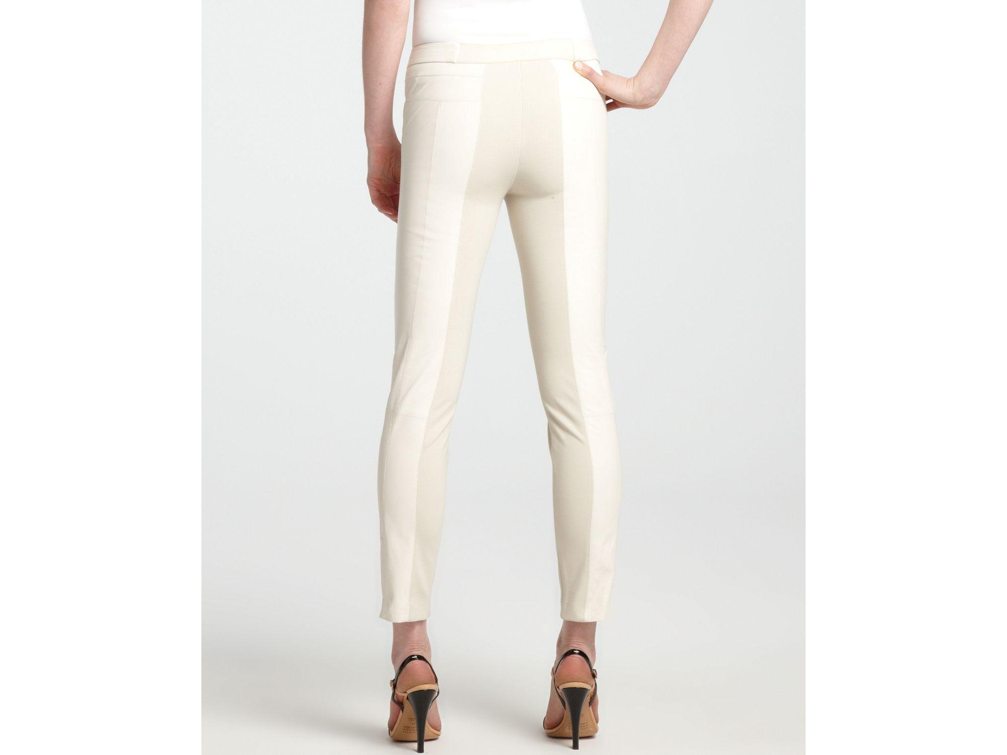 e324dd78346dd Halston Leather Pants Ponte Trim in White - Lyst