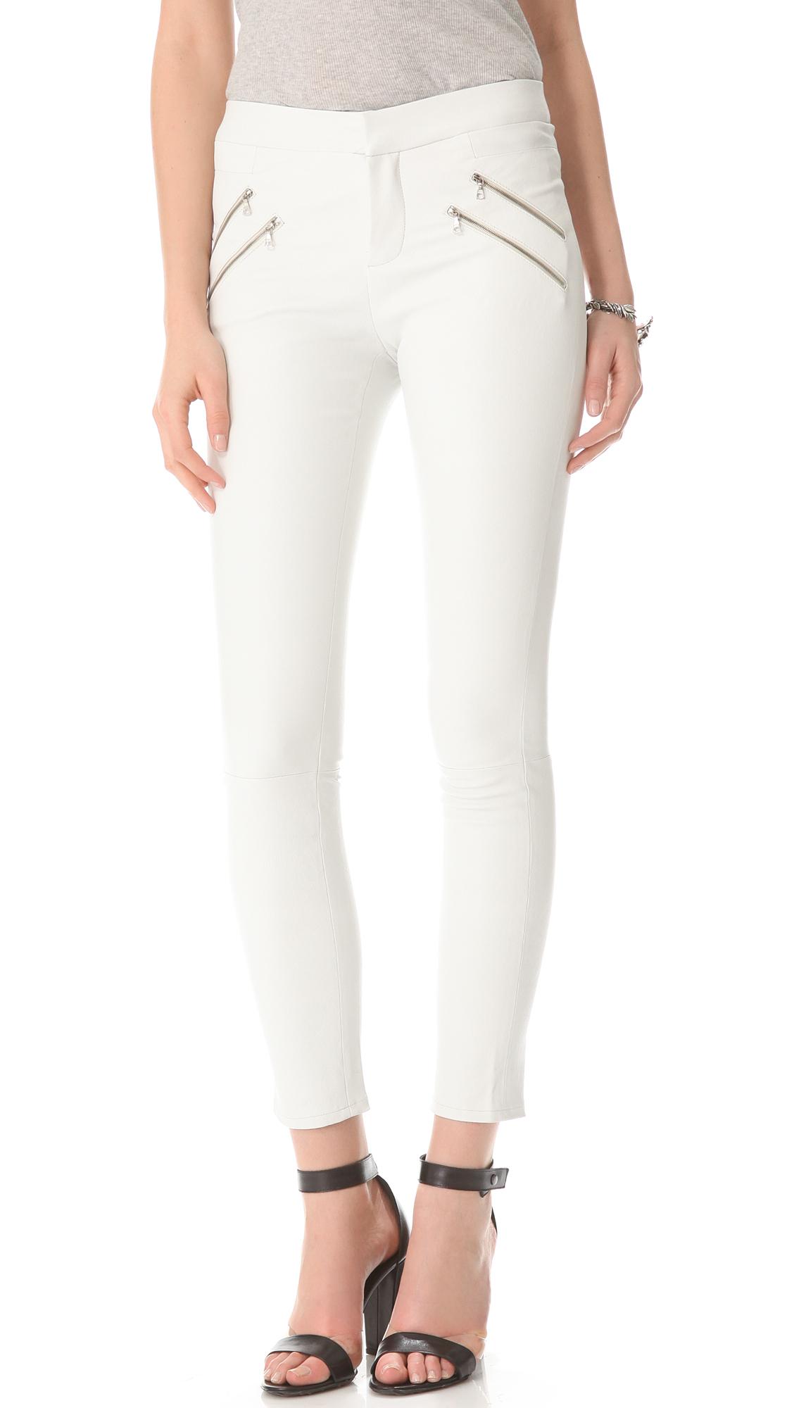 Simple White Leather Pants  Pi Pants