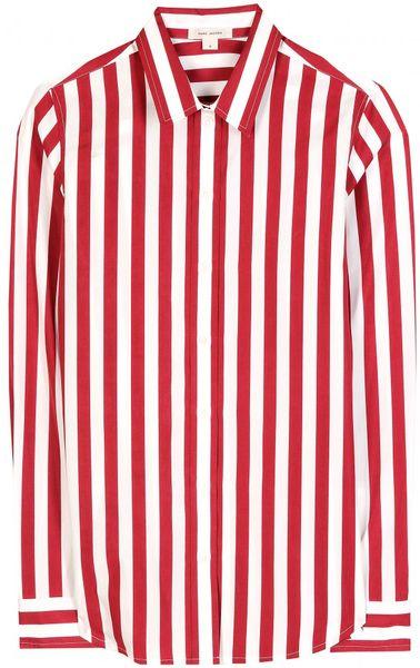 Marc jacobs striped cotton button down shirt in white red for Red and white striped button down shirt