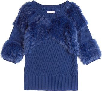 Matthew Williamson Chevron Rabbit Knit Oversize Jumper - Lyst