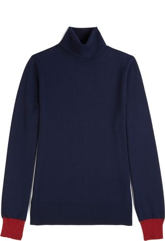 Matthew Williamson Color Block Roll Neck Sweater in Navy - Lyst