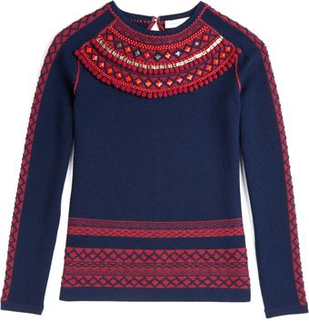 Matthew Williamson Folk Border Knit Embroidered Jumper - Lyst