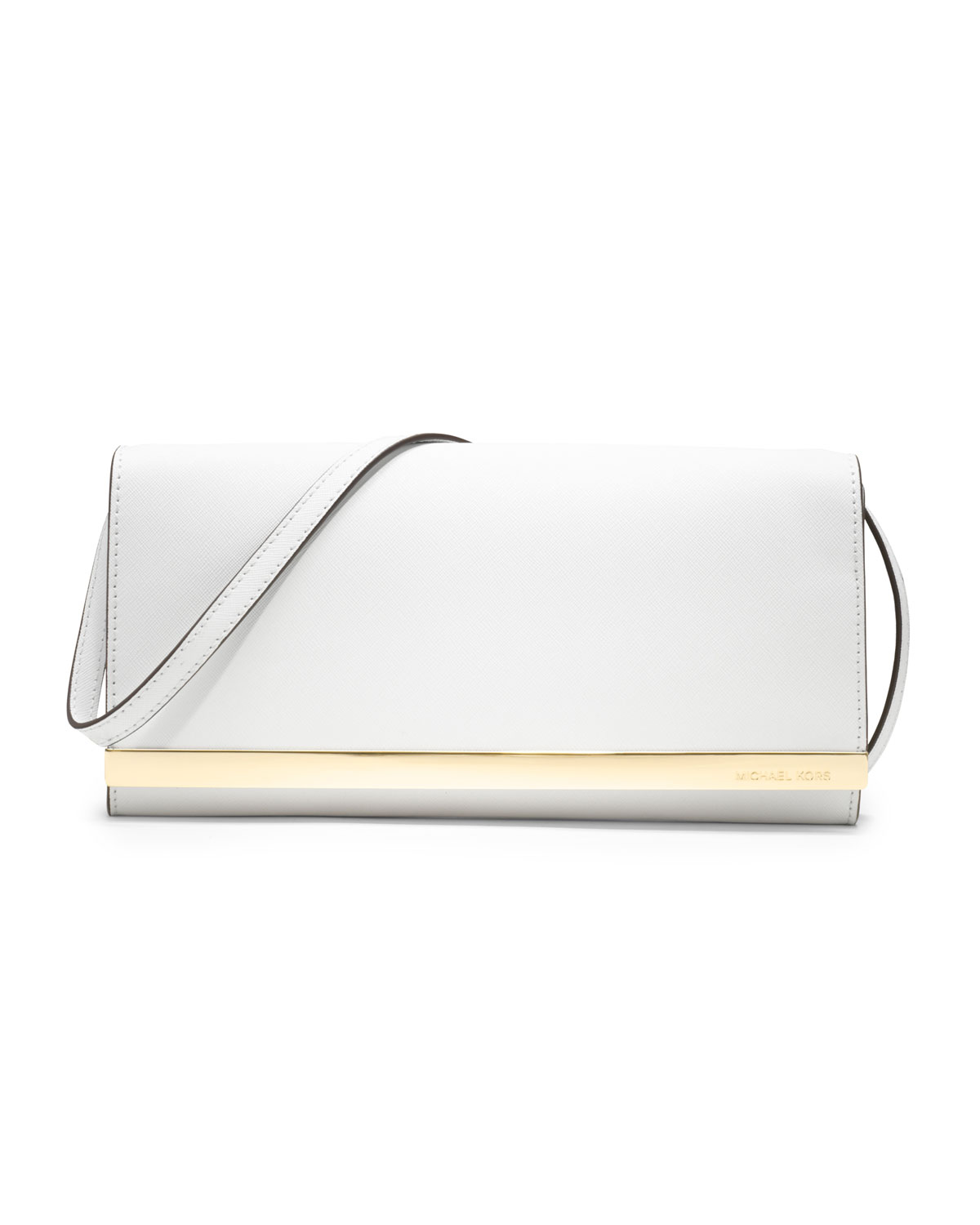 michael kors tilda saffiano clutch in white lyst. Black Bedroom Furniture Sets. Home Design Ideas