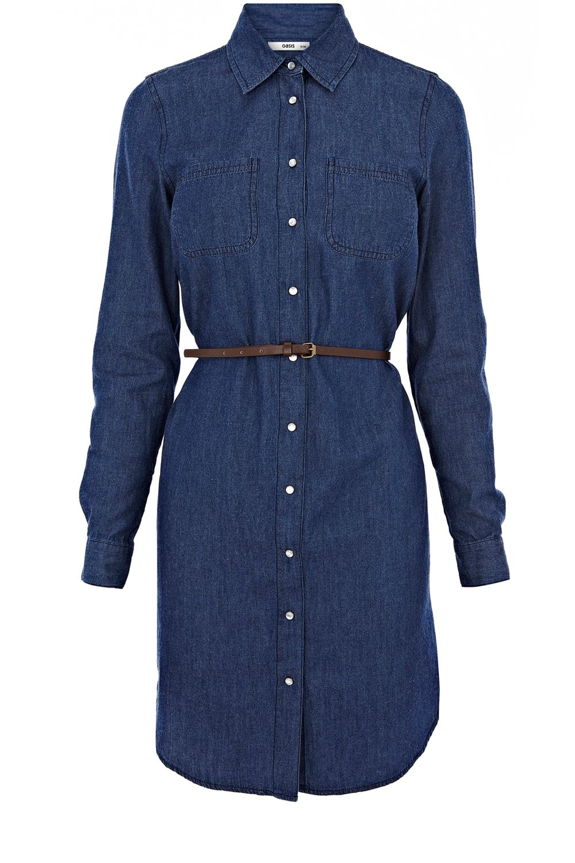 oasis western belted shirt dress in blue denim lyst