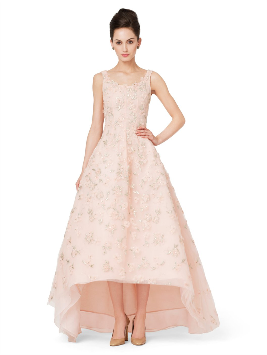 Oscar De La Renta Embroidered Gown With Full Skirt In Pink
