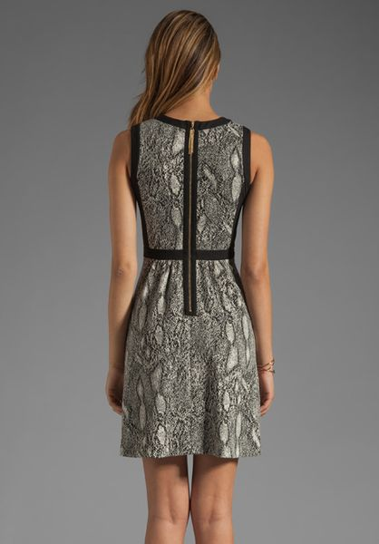 Rebecca Taylor Python Fit Flare Dress In Black Lyst