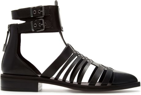 Zara Pointed Sandal in Black - Lyst
