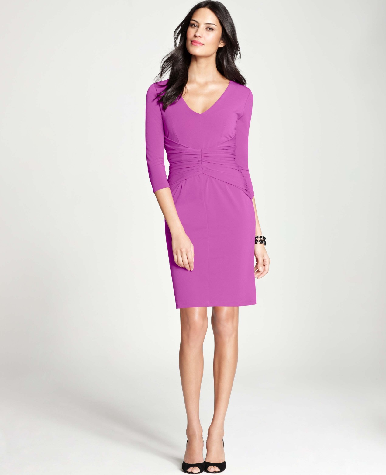 Lyst - Ann Taylor Petite Crepe Ruched Dress in Purple