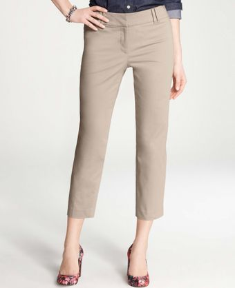 Ann Taylor Curvy Cotton Sateen Cropped Pants - Lyst