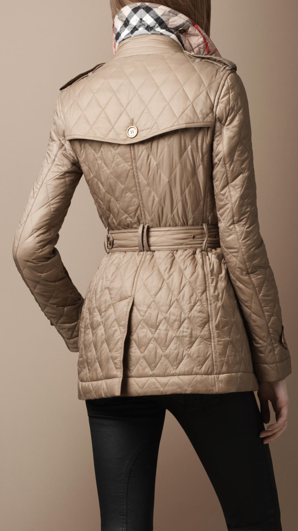 551ad1611998 Lyst - Burberry Brit Short Diamond Quilted Trench Coat in Natural