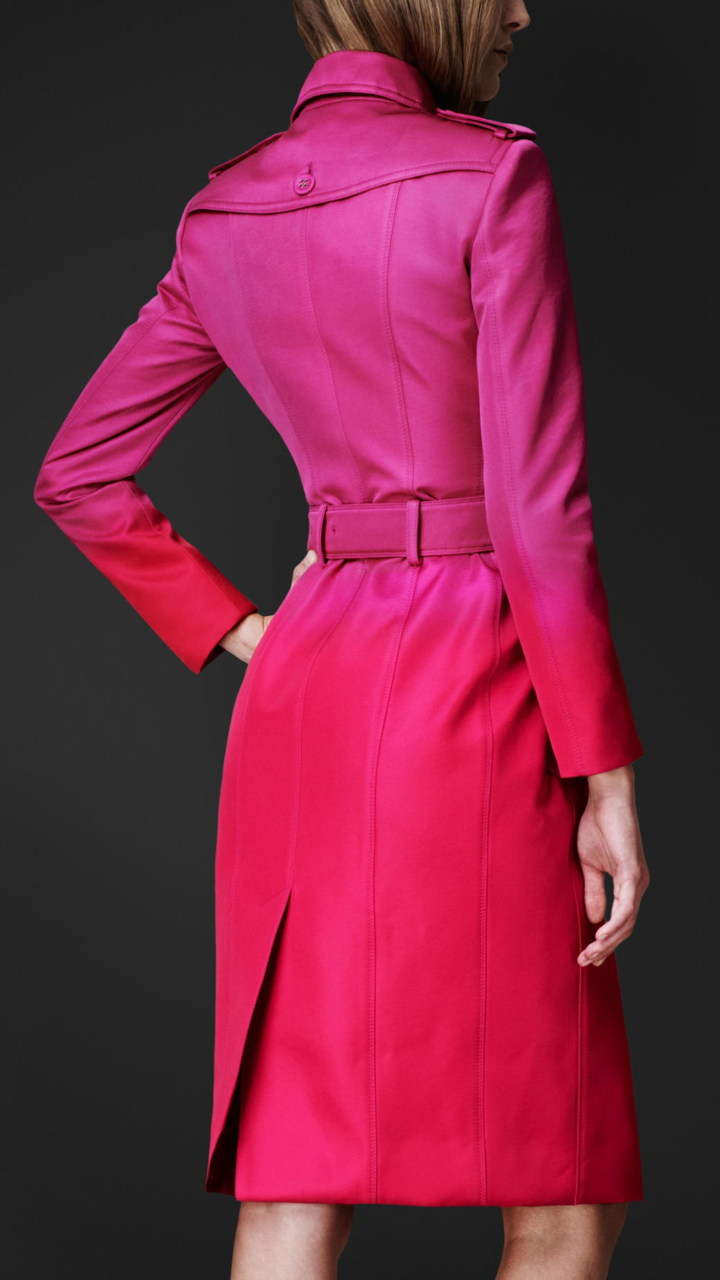 Lyst Burberry Prorsum Satin Dgrad Trench Coat In Pink
