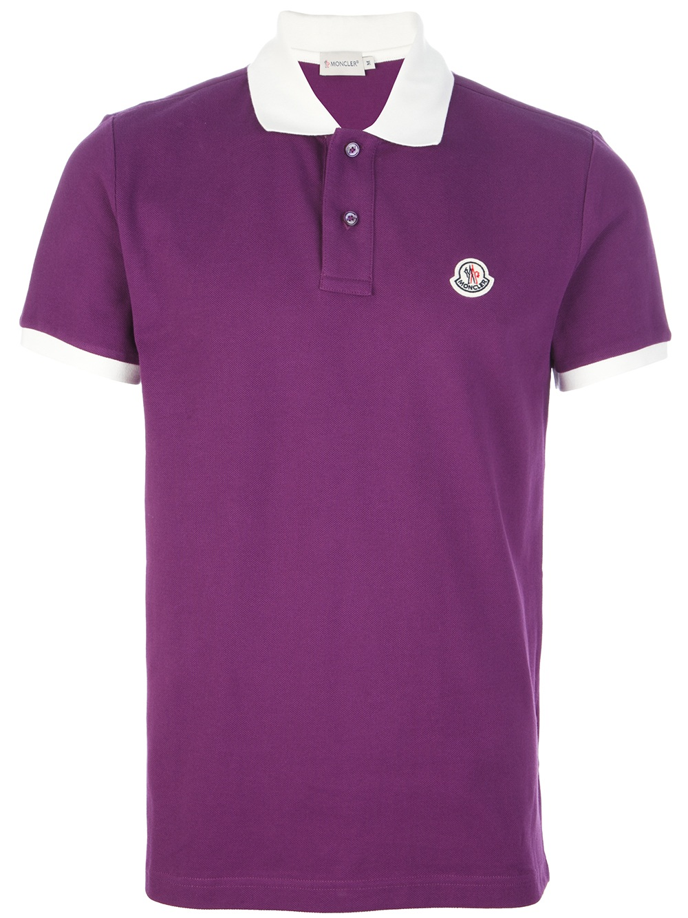 Moncler Contrast Collar Polo Shirt In Purple For Men
