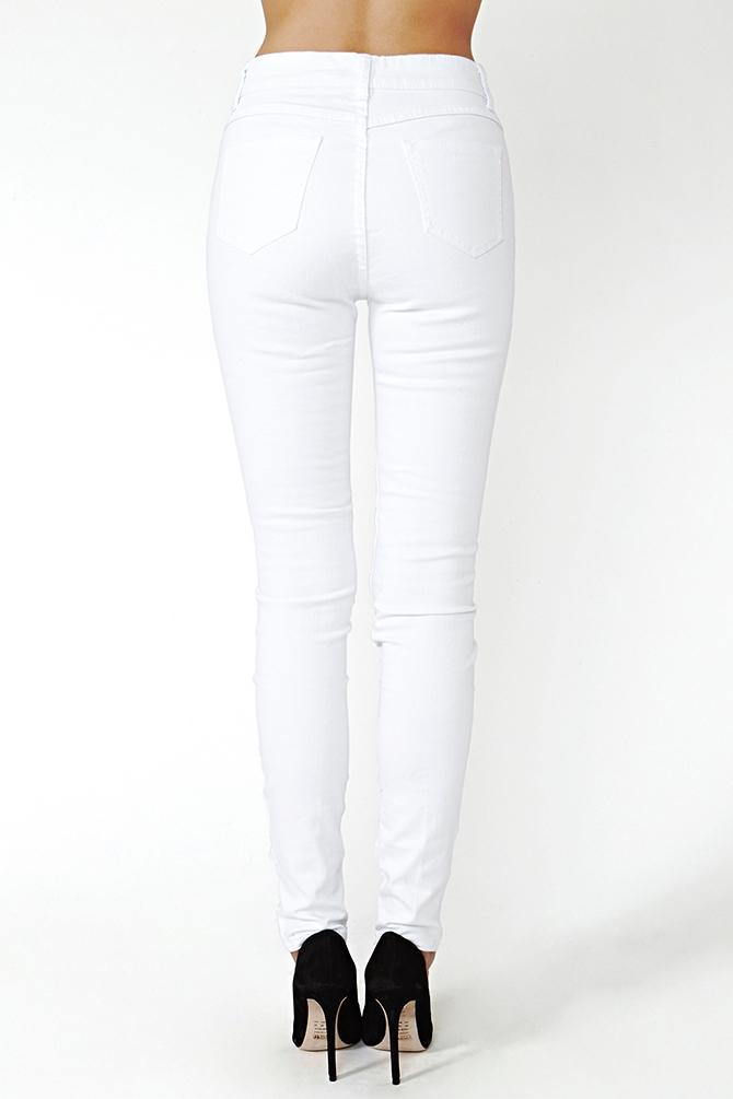 Nasty gal Shredded Skinny Jeans in White | Lyst