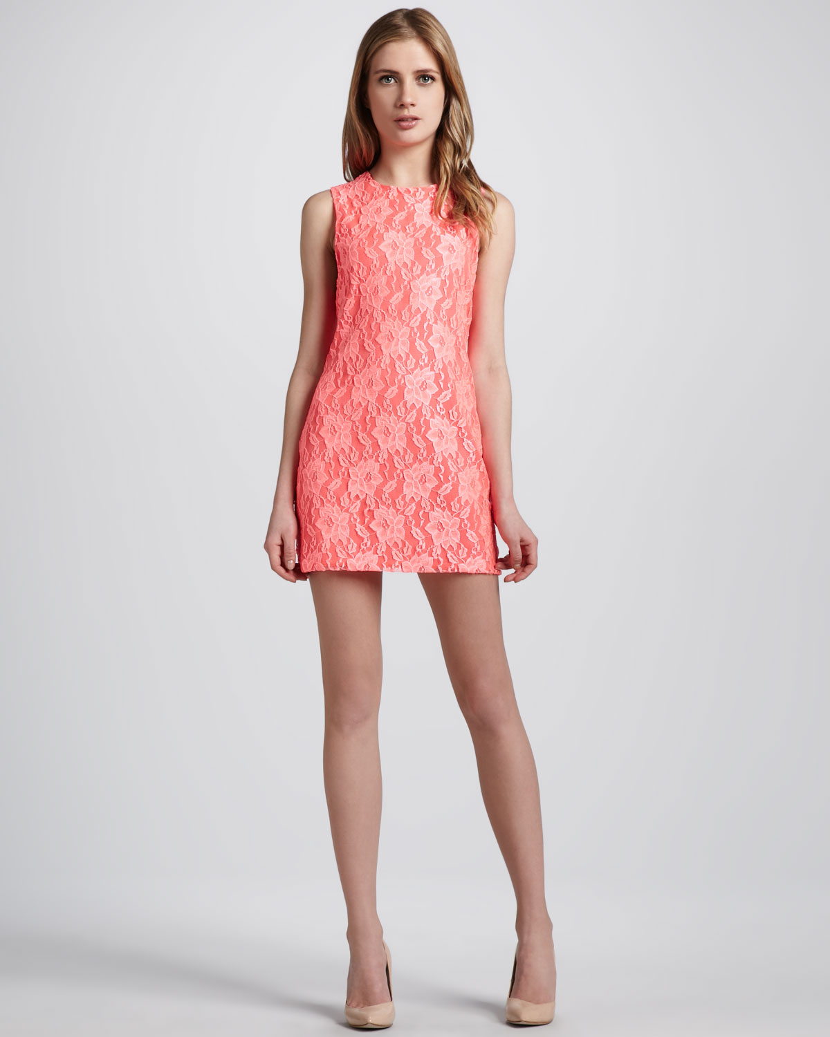Naven Neon Lace Shift Minidress In Orange Coral Lyst