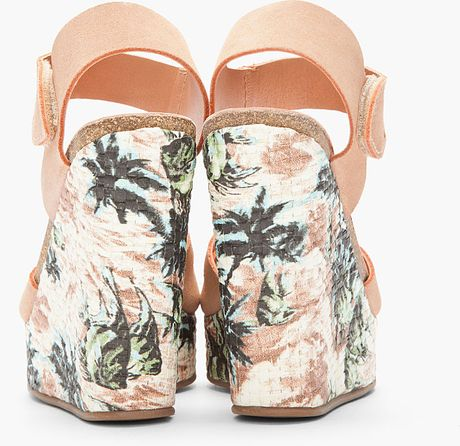 Pedro Garcia Dusty Rose Suede Floral Alice Wedge Sandals