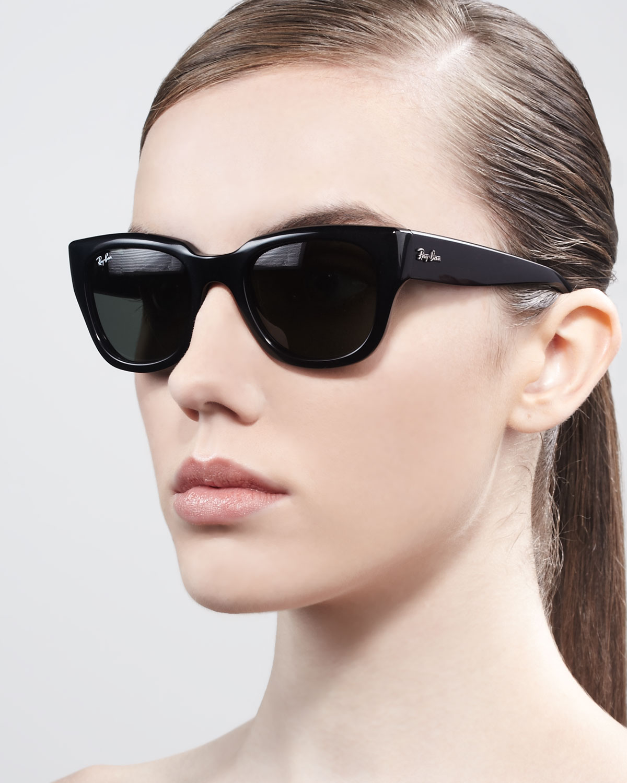 8468f410b ... wholesale lyst ray ban cat eye sunglasses in black bd2db 86917