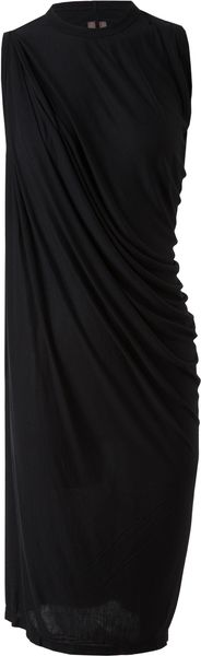 Rick Owens Draped Stretchjersey Dress - Lyst