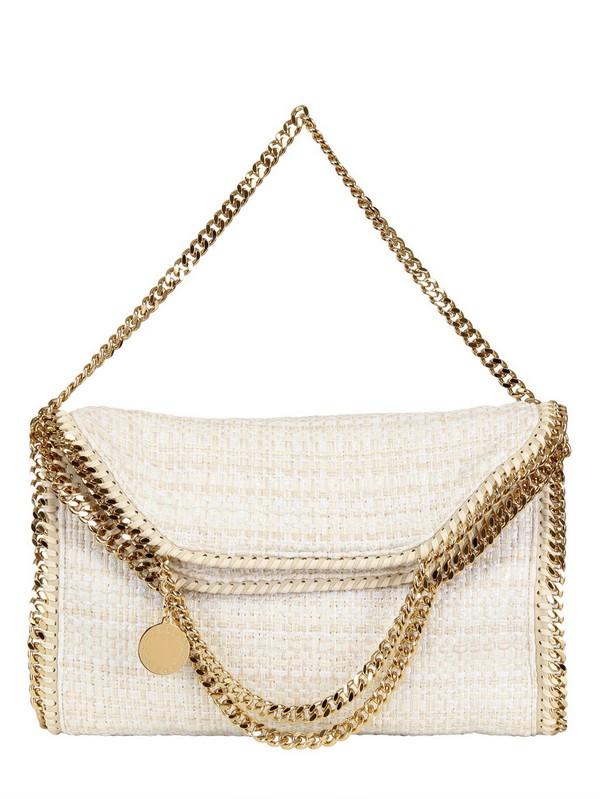 Lyst - Stella McCartney Three Chain Cotton Bouclé Falabella Bag in White 9020d335ea887