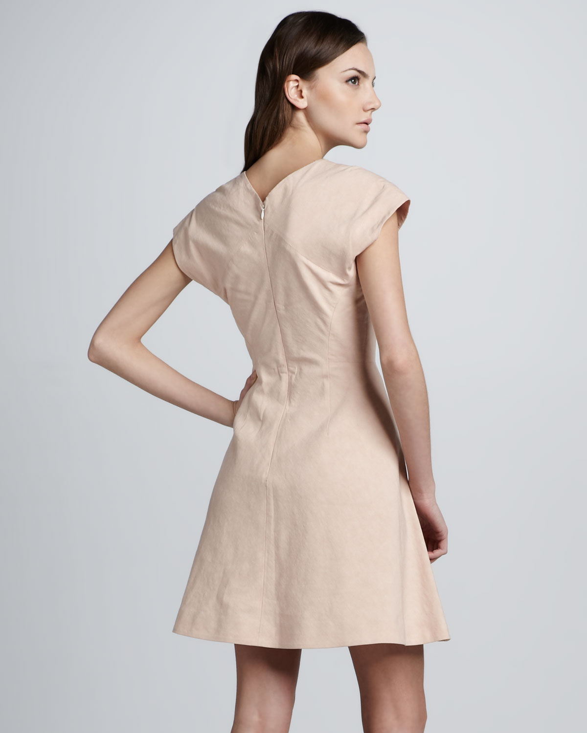ba4a30e116 Theyskens' Theory Dabor Squareneck Linencotton Dress in Pink - Lyst