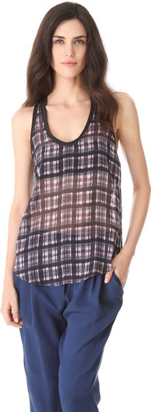 3.1 Phillip Lim Napped Plaid Combo Tank - Lyst