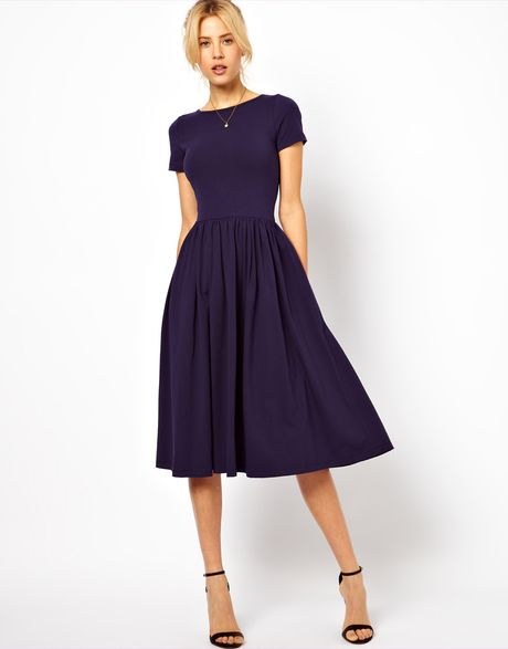 Asos Midi Dress With Short Sleeves In Blue Navy Lyst
