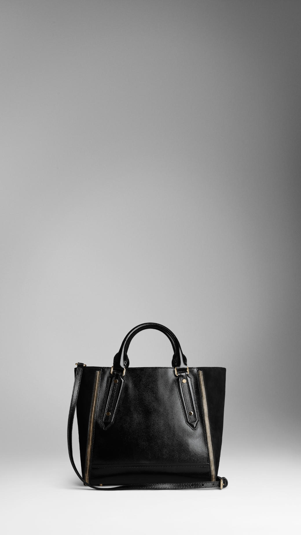 Lyst - Burberry Medium London Leather Zip Detail Tote Bag in Black 1cfdc8bdfc941
