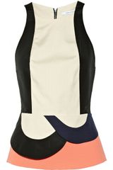 Diane Von Furstenberg Eon Color-Block Stretch-Canvas Peplum Top - Lyst