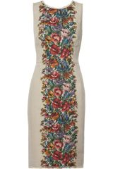 Dolce & Gabbana Floralprint Linen Dress - Lyst