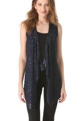 Donna Karan New York Sequin Long Drape Vest - Lyst