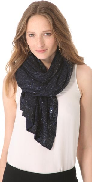 donna karan new york sequined cashmere scarf in blue navy. Black Bedroom Furniture Sets. Home Design Ideas