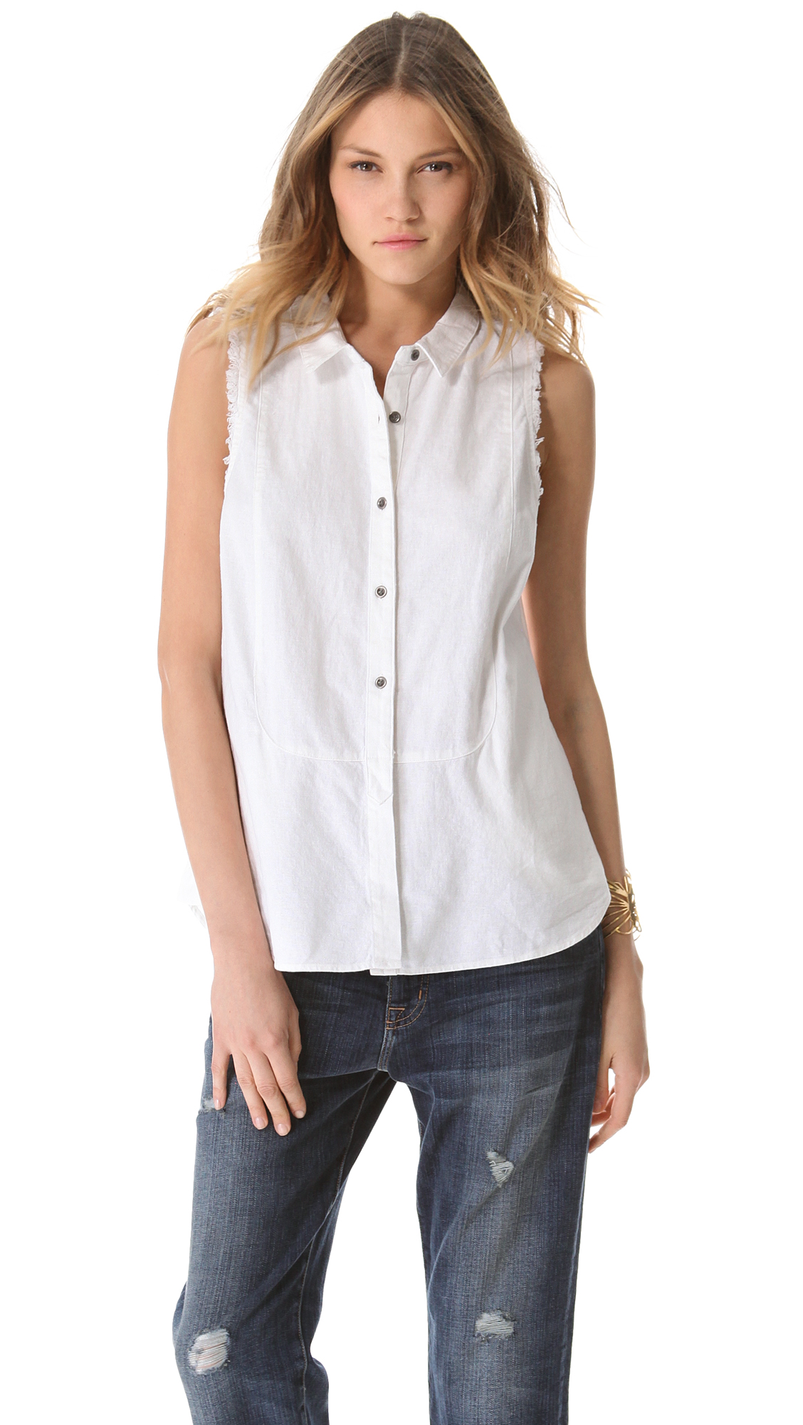 Free People Linen Sleeveless Shirt In White Lyst