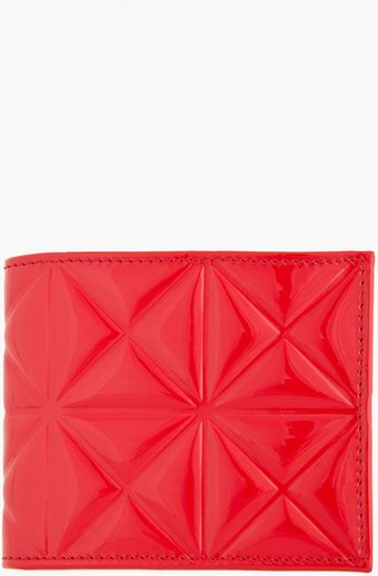 Gareth Pugh Red Patent Leather Geometric Embossed Wallet - Lyst
