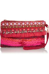 Matthew Williamson Swarovski Crystalembellished Suede Wristlet Clutch - Lyst