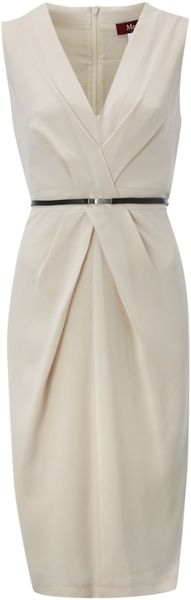 Max Mara Studio Vista V-Neck Shift Dress with Belt - Lyst