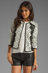 Nanette Lepore Spectacle Lace Jacket in Ivory and Black - Lyst