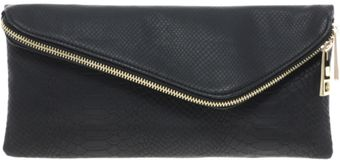 River Island Black Snake Asymmetric Zip Clutch - Lyst