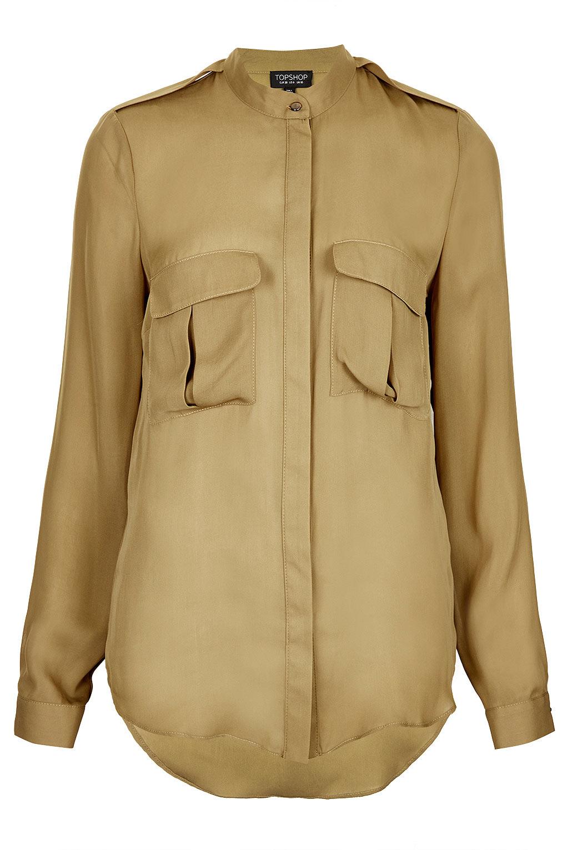 Safari Shirt Cognac Heels: Topshop Formal Safari Shirt In Beige (camel)
