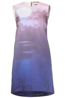 Victoria, Victoria Beckham Digital Print Duchess Satin Dress - Lyst