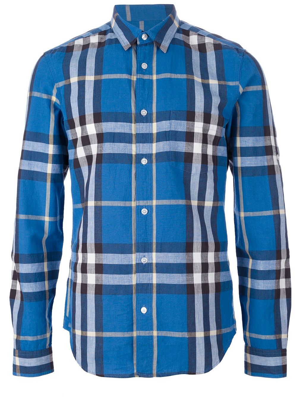 Lyst burberry brit checked short sleeve shirt in blue for Burberry brit checked shirt