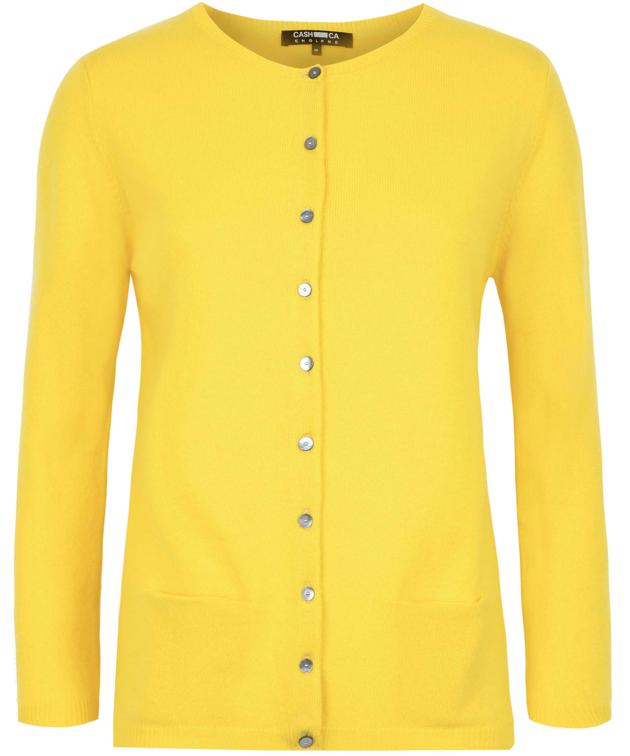 Cash ca Canary Yellow Cashmere Crew Neck Cardigan in Yellow | Lyst
