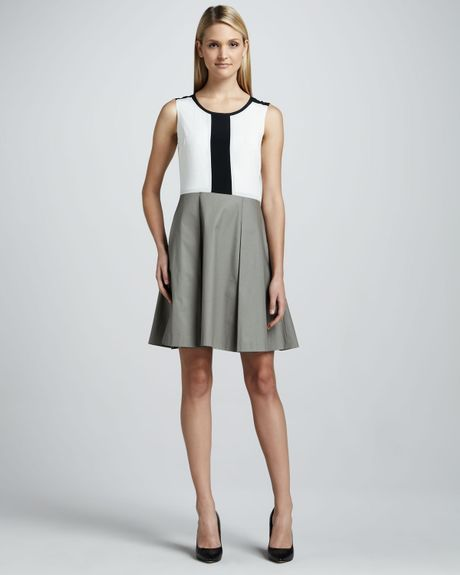 Dkny Colorblocked Sleeveless Fitandflare Dress In White