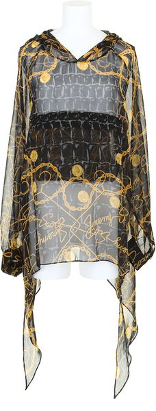 Jeremy Scott Sweatshirt Effect Top in Silk Chiffon with An Animal and Golden Chain Print - Lyst
