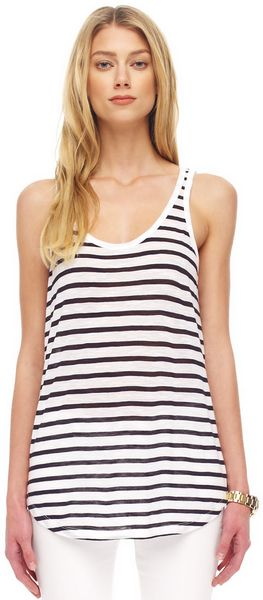 Michael Kors Striped Slub Tank - Lyst