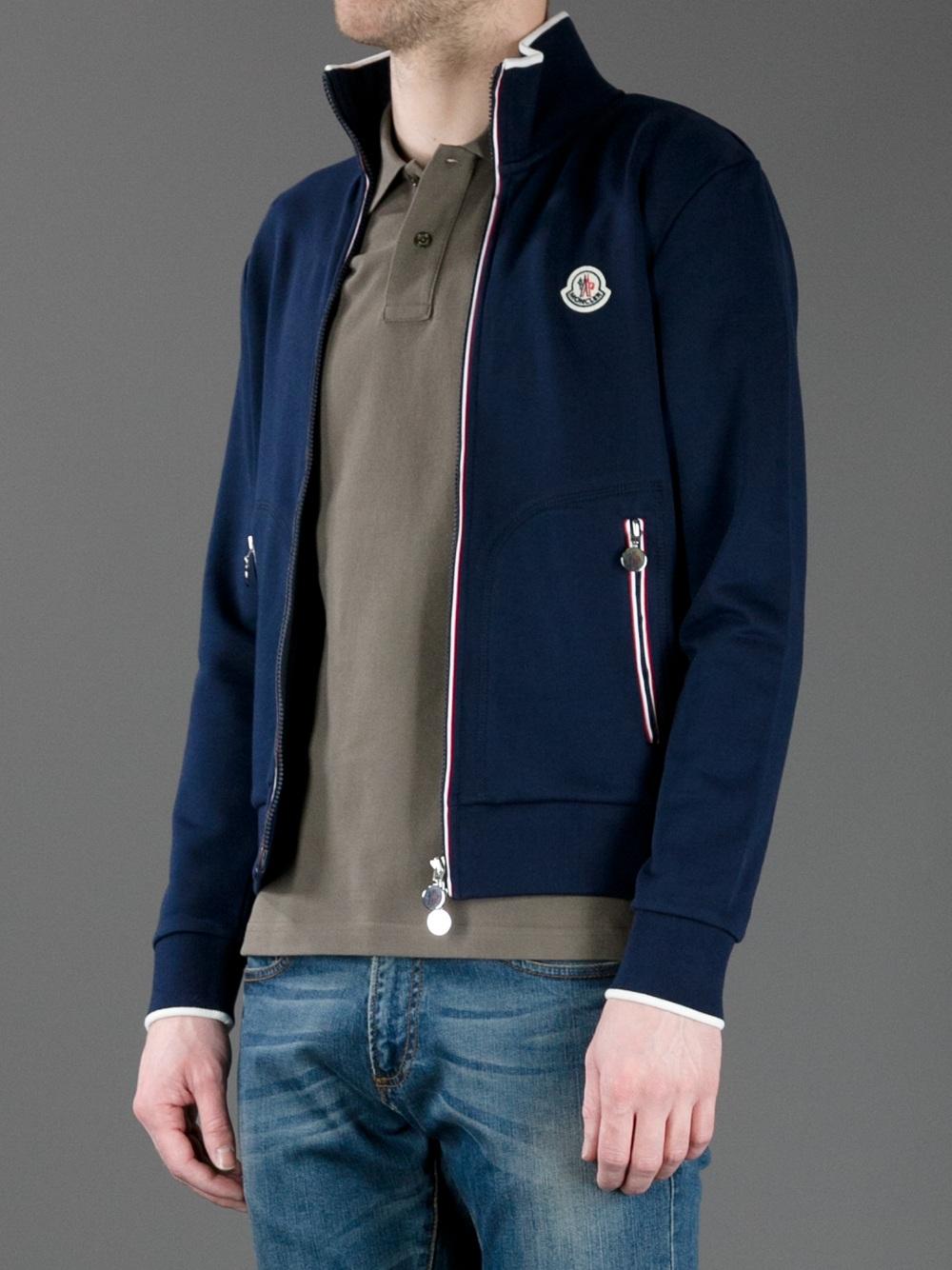 8556495f1 Moncler Zip thru Track Top in Blue for Men - Lyst