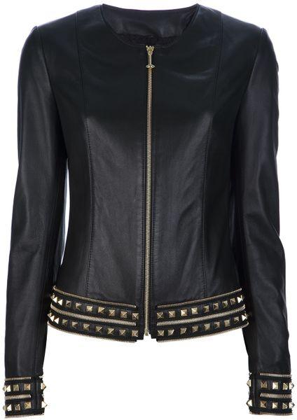 philipp plein studded leather jacket in black lyst. Black Bedroom Furniture Sets. Home Design Ideas