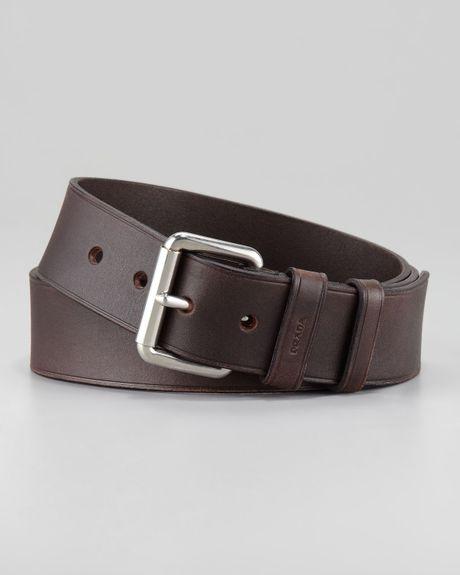 Prada Casual Leather Belt In Brown For Men (42)
