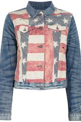 Ralph Lauren American Flag Print Denim Jacket