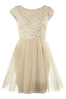 Tfnc Gold Foil Tulle Skirt Dress - Lyst