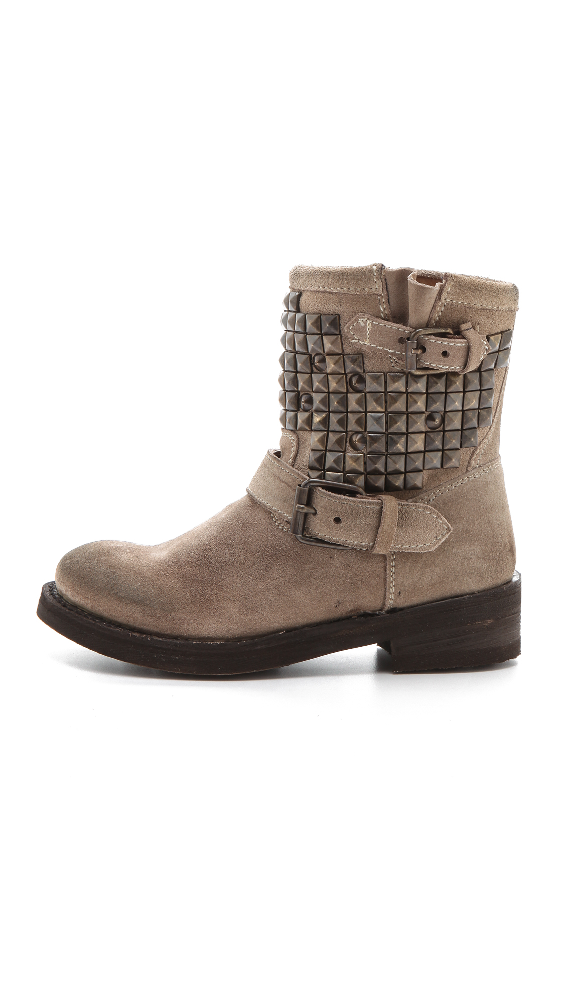 ash titan studded flat boots in gray lyst