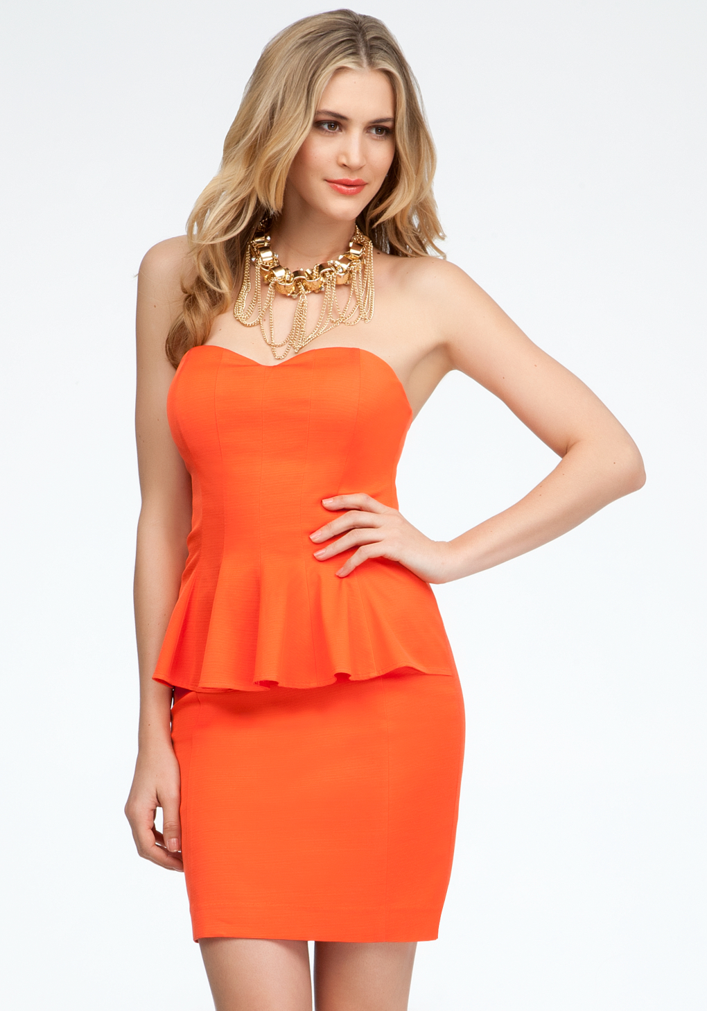 Coral strapless peplum dress video